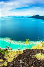 Preview iPhone wallpaper Malaysia beautiful nature, Bohey Dulang Island, blue sea