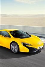 Preview iPhone wallpaper McLaren 625C yellow supercar high speed