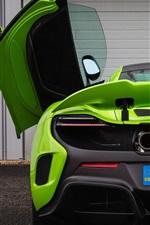 McLaren 675LT green supercar rear view