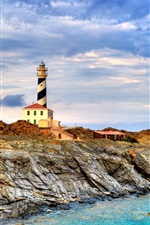 Preview iPhone wallpaper Menorca, Spain, lighthouse, sea, coast