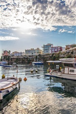 Menorca, Boote, Dock, Häuser, Meer, Wolken, Spanien