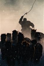 Mongolia, horses running in winter, snow