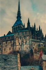 Preview iPhone wallpaper Mont Saint-Michel, France, castle, tower, dusk, clouds