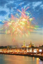 Preview iPhone wallpaper Moscow, Kremlin, river, fireworks, houses, night, lights