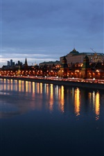 Preview iPhone wallpaper Moscow city beautiful evening, buildings, houses, river, lights