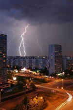 Preview iPhone wallpaper Moscow night city, lightning, road, houses, lights