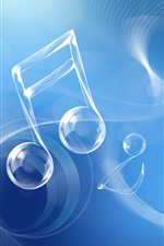 Preview iPhone wallpaper Musical note, blue style