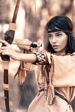 Preview iPhone wallpaper Native hunter, black hair girl, bow
