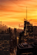 Preview iPhone wallpaper New York city at evening, skyscrapers, lights, red sky, America
