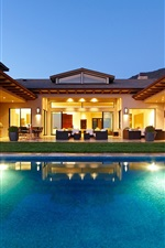 Preview iPhone wallpaper Night, home, house, villa, lights, swimming pool, chairs, sofas