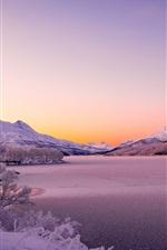 미리보기 iPhone 배경 화면 노르웨이, 스칸디나비아 산맥, 호수, 겨울, 두꺼운 눈, 나무