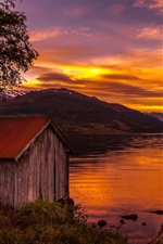 Preview iPhone wallpaper Norway, house, trees, lake, sunset, red sky