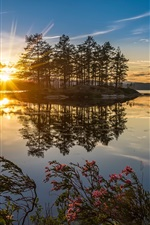 Preview iPhone wallpaper Norway nature sunset, lake, trees, sun rays