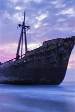 Preview iPhone wallpaper Old ship, sea, coast, evening