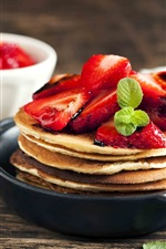 Pancakes, strawberry, dessert, hot chocolate, delicious food