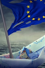 Preview iPhone wallpaper Paper boat, Flag of Europe, creative pictures