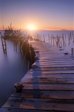 Preview iPhone wallpaper Pier, wood bridge, stump, sea, sunset, dusk
