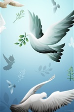 Preview iPhone wallpaper Pigeons, birds flight, art drawing