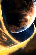 Preview iPhone wallpaper Planets, space, flame