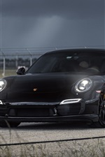 Porsche Carrera 911 black supercar at night