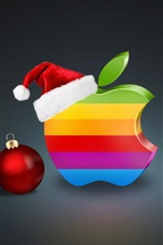 Preview iPhone wallpaper Rainbow colors Apple logo, Christmas balls and hat