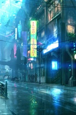 Preview iPhone wallpaper Rainy night city, street, buildings, art design