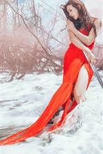 Preview iPhone wallpaper Red dress Asian girl and sword in the snow winter