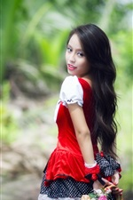 Preview iPhone wallpaper Red dress Asian girl look back