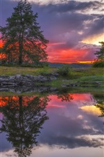Ringerike, Norway, lake, water reflection, house, clouds, sunset
