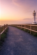Preview iPhone wallpaper Road, fence, sunset, lighthouse, sea