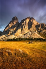 Preview iPhone wallpaper Rocks mountains, lawn, grass, house, clouds, dusk