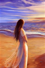 Romance time, walk at beach, sunset, painting