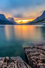 Preview iPhone wallpaper Saint Mary Lake, Glacier National Park, Montana, USA, sunset, mountains