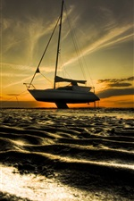 Preview iPhone wallpaper Sands, beach, boat, dusk, sunset