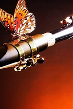 Preview iPhone wallpaper Saxophone and butterfly, music theme