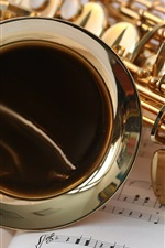 Preview iPhone wallpaper Saxophone close-up, music stave