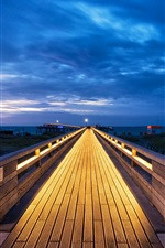 Preview iPhone wallpaper Schleswig-Holstein, Baltic Sea, Germany, wooden path, clouds, blue sky, night