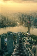 Preview iPhone wallpaper Shanghai, China, city, skyscrapers, tower, river, dawn, sunrise