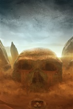 Preview iPhone wallpaper Skull, stones, desert, Desktopography art design