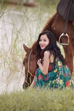 Preview iPhone wallpaper Smile Asian girl look back, horse