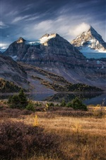 Preview iPhone wallpaper Snowy peak, mountains, lake, grass, autumn, Columbia, Canada