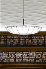Preview iPhone wallpaper Stadsbiblioteket, Stockholm, library, many books, chandelier