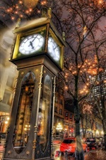 Preview iPhone wallpaper Steam Clock, city night, lights, Canada