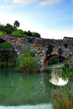 Stone bridge, river, arch, grass, dusk