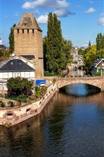 Preview iPhone wallpaper Strasbourg, France, bridge, houses, river