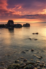 Preview iPhone wallpaper Sunset coast, sea, stones, red sky