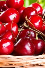Preview iPhone wallpaper Sweet cherries, basket, fruit photography