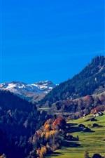 Vorschau des iPhone Hintergrundbilder Schweiz, Alpen, Berge, Häuser, Bäume, Gras, blauer Himmel