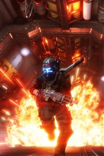 Preview iPhone wallpaper Titanfall 2, soldier, fire