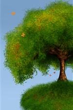 Tree, grass, butterflies, clouds, art design